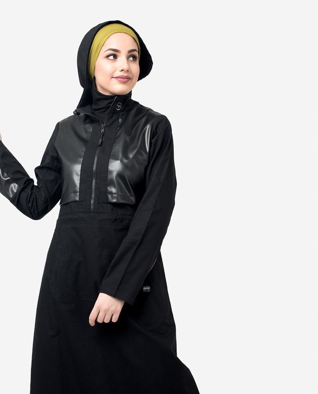 Black PU Hooded Jilbab