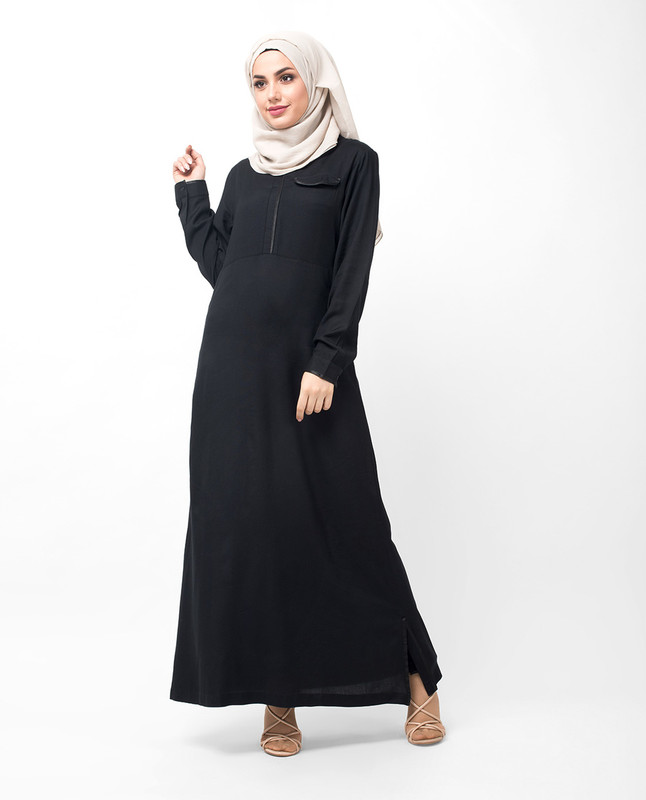 Satin Detail V Neck Black Abaya