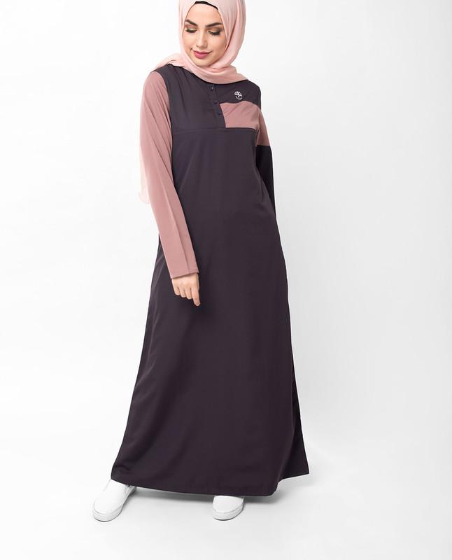 Contrast Sleeve Plum Casual Jilbab