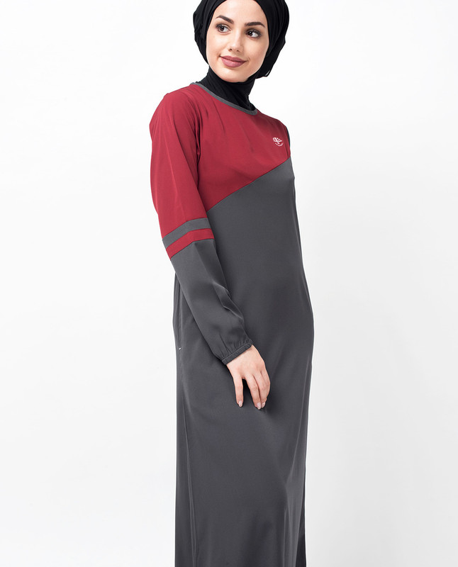 Grey & Red Colour Block Jilbab