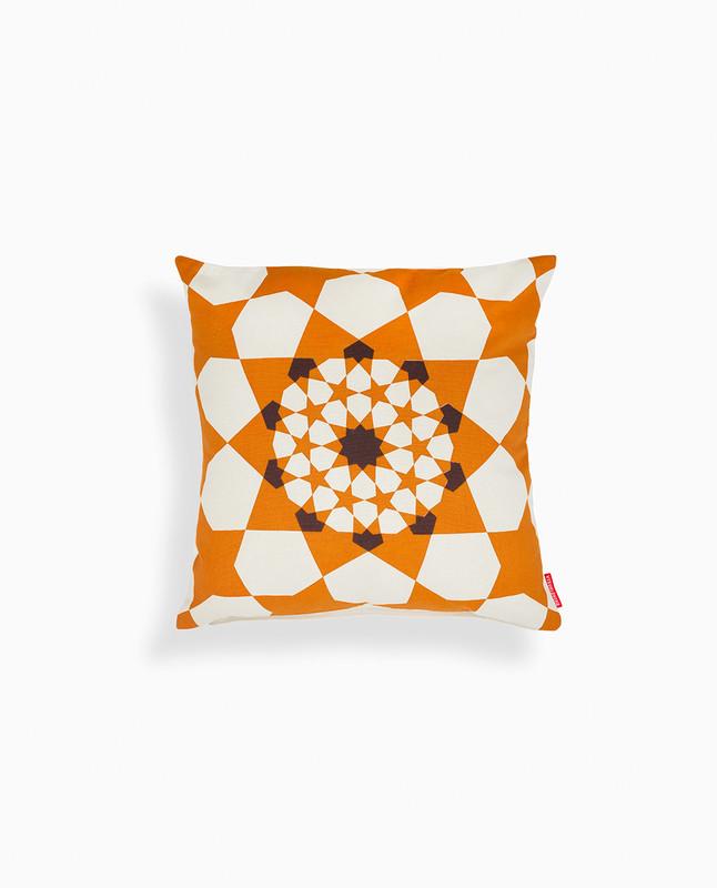 Islamic Geometry Print Cushion Cover - Gold/ Brown