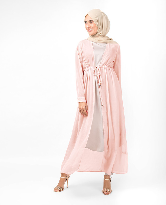 Baby Pink Waist Tie Up Outerwear