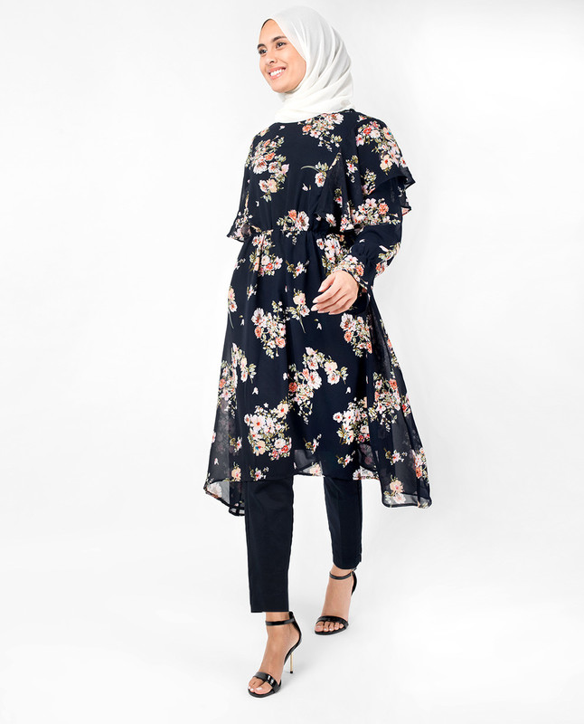 Navy Floral Handkerchief Boat Neck Midi Dress