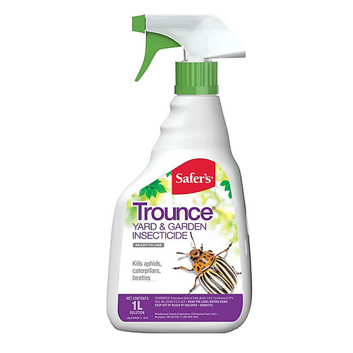 SAFER'S® TROUNCE® YARD AND GARDEN INSECTICIDE RTU 1L Safer's TROUNCE® Yard and Garden insecticide is a fast acting short-lived product. Nozzle is closed when purchased. To open, turn nozzle until the desired spray pattern is achieved. When insects appear, spray all plant parts including upper and lower leaf surfaces. Hold container upright when spraying. Insects must be sprayed to be killed.