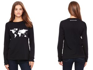 World Map Ladies Long Sleeve Relaxed Jersey Tee