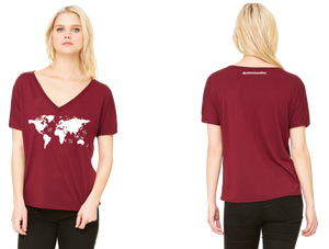 World Map Ladies Slouchy V-Neck
