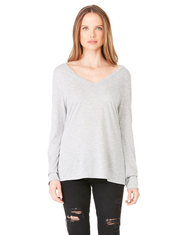 Bella Ladies Long Sleeve Flowy V-Neck