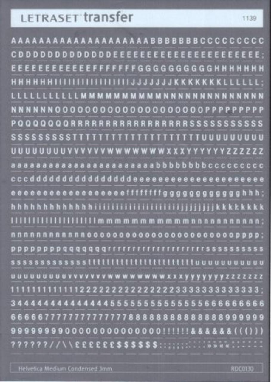 3mm, Helvetica Medium Condensed , White , Letraset, RDC0130