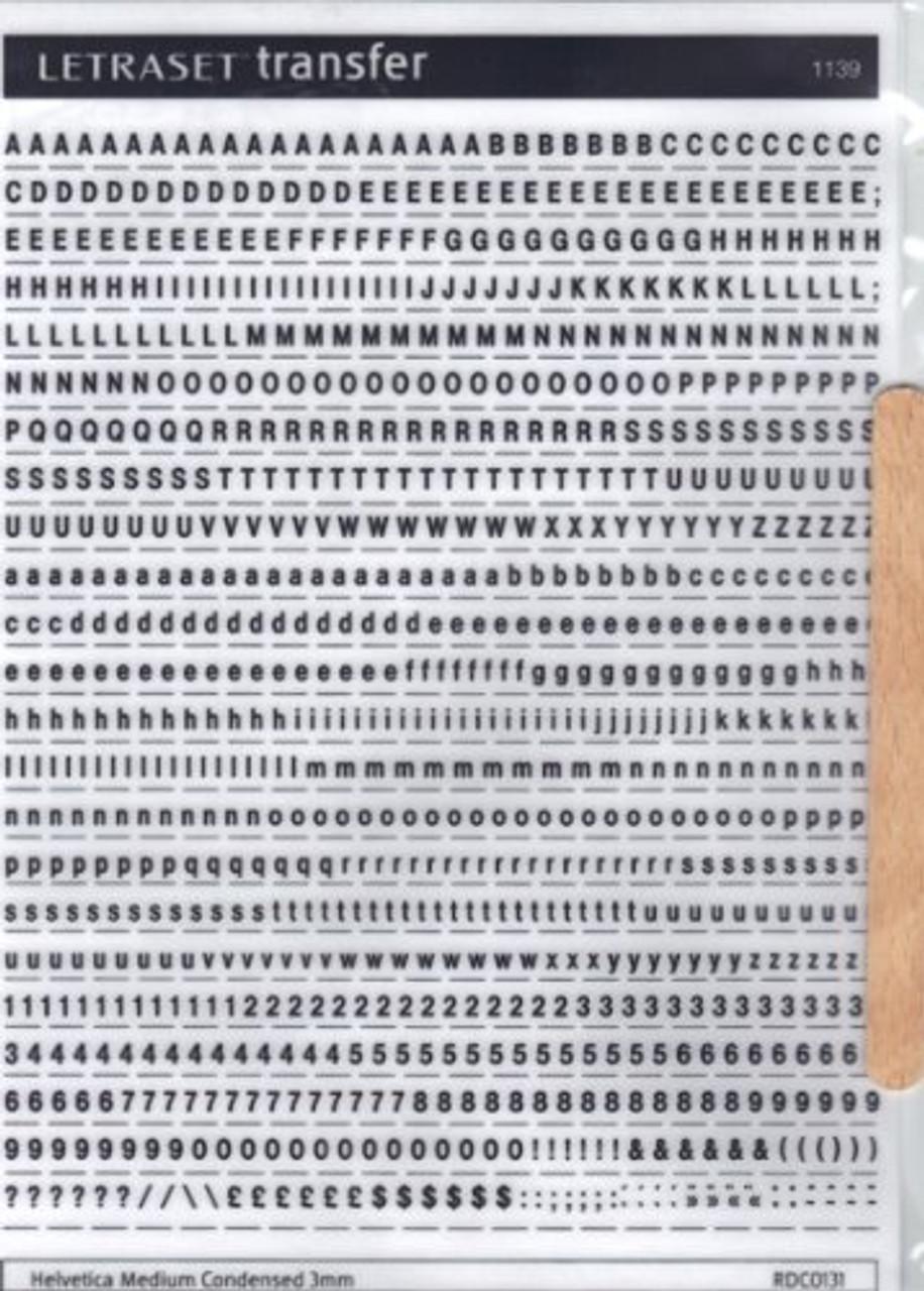 3mm, Helvetica Medium Condensed ,  Black , Letraset, RDC0131