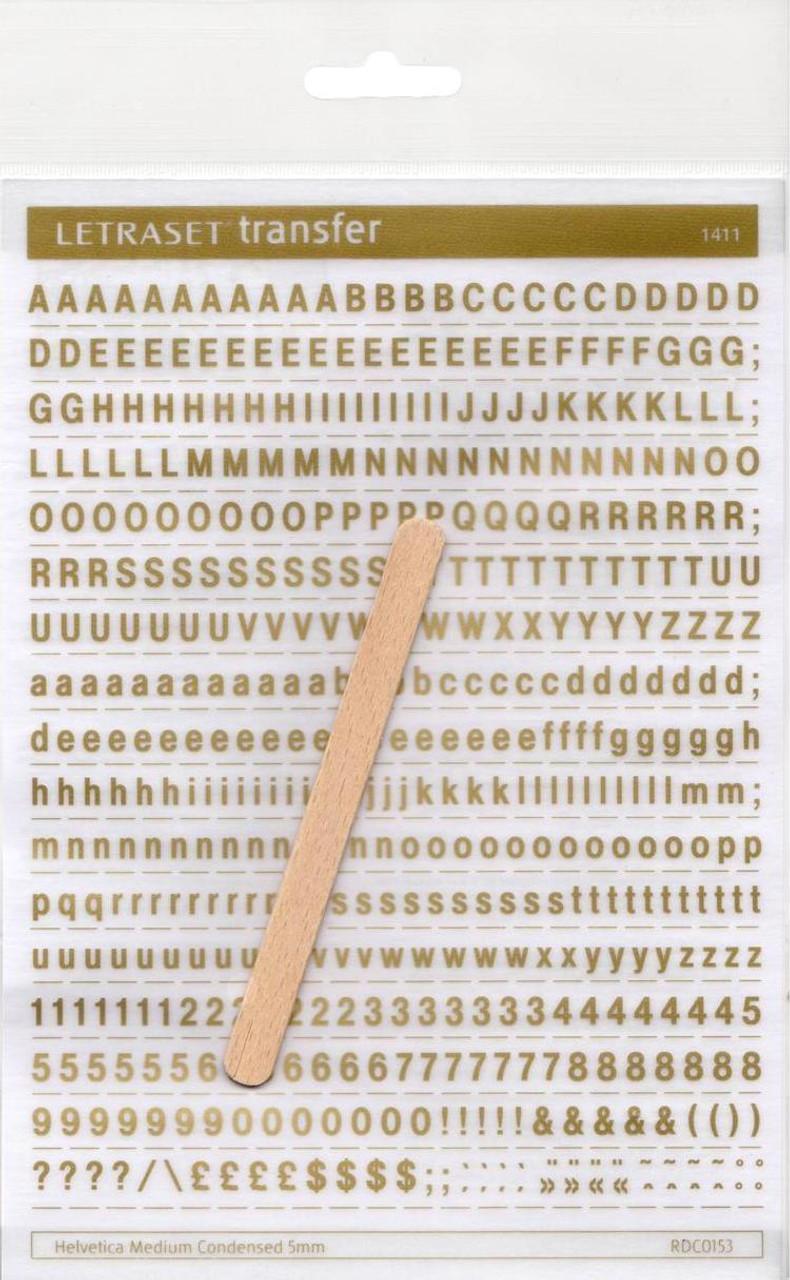 5mm, Helvetica Medium Condensed , Gold , Letraset, RDC0153