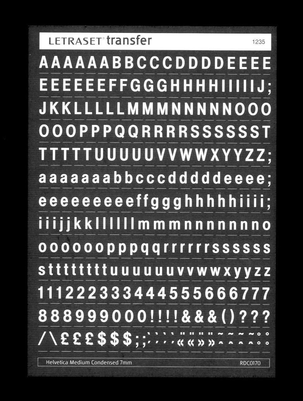 7mm, Helvetica Medium Condensed , White , Letraset, RDC0170