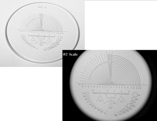 Optical Comparator Reticles , Peak Scale for 10X Loupe 1983 , Ret-1983-2 , #2 Scale