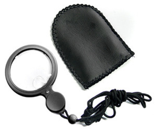 Reading Magnifier Lighted w Neck Cord Black