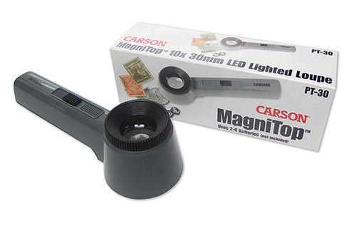 Lighted Magnifier , 10X Loupe ,Carson MagniTop , PT-30 , Crsn-PT-30