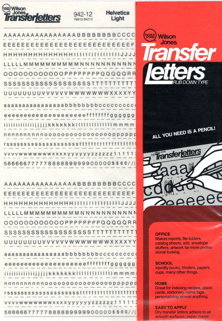 """Rub On , Dry Transfer , Letter , Decals , 12pt , 1/8"""" , 942-12"""