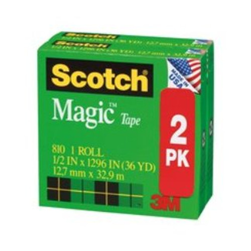 "Scotch Magic Mending Tape 810, 3/4"" x 1296"" Boxed 2 Pack"