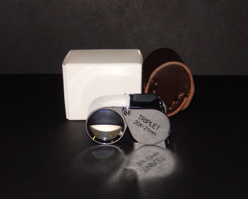 20X 21mm Jewelers Triplet Teardrop Loupe & Leather Case , 20x-32021