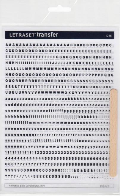 3mm, Helvetica Bold Condensed , Black , Letraset, RDC0231