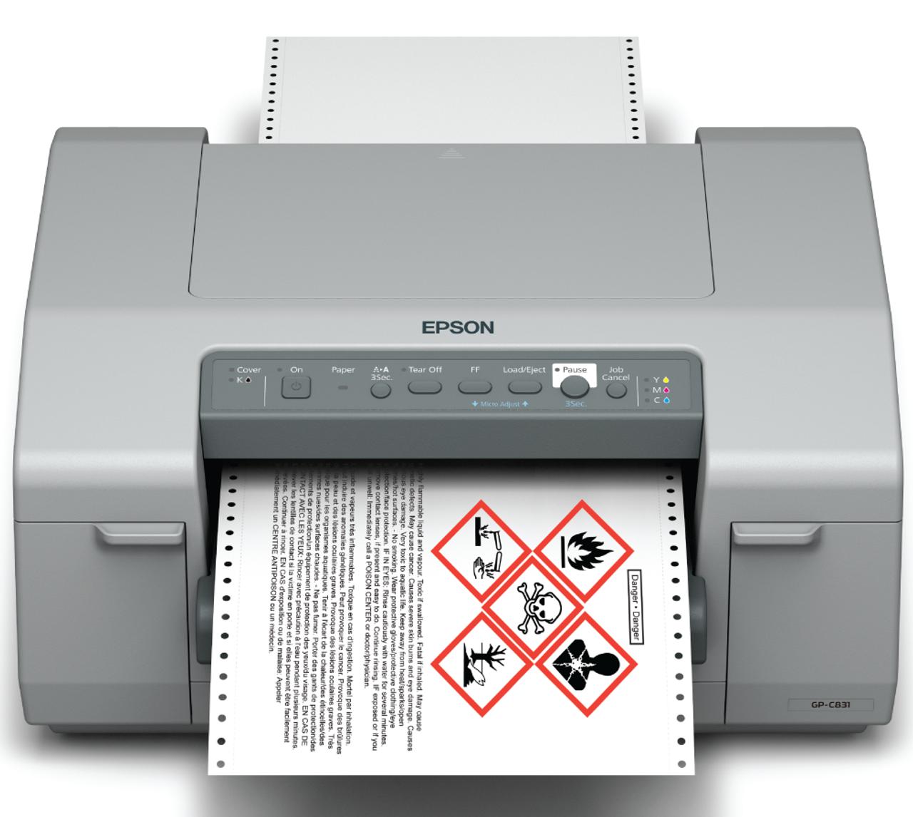 Epson ColorWorks GP C831 Printing A Color GHS Drum Label
