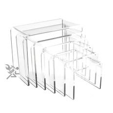 "Clear Acrylic 3/16"" Medium Rectangle 6 Piece Riser Set Display Stands"