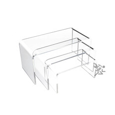 """Clear Acrylic 1/8"""" Short Rectangle Riser 3 Piece Set Display Stands"""