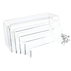 """Clear Acrylic 3/16"""" Long Rectangle 5 Piece Riser Set Display Stands"""
