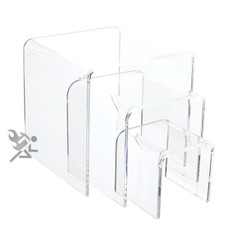 """Clear Acrylic 1/8"""" Medium Square Riser 3 Piece Set Display Stands"""