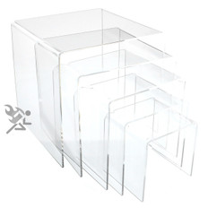 """Clear Acrylic 1/8"""" Large Square Riser 5 Piece Set Display Stands"""