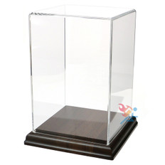 "9"" Rectangle Acrylic Display Cube with Solid Walnut Base"