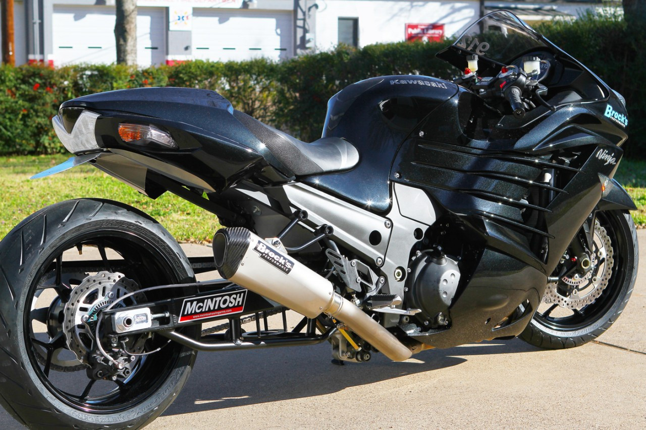Brocks Ct Single Full Exhaust 16 Muffler Kawasaki Zx14 06 17 Fuel Filter