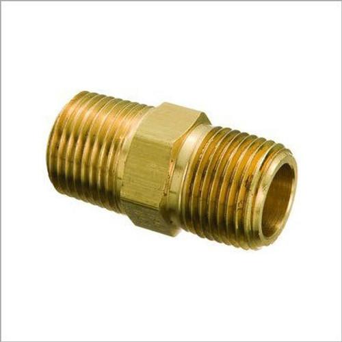 "Schnitz Fitting Brass Hex Nipple 1/8"" NPT Male to 1/48 NPT Male"