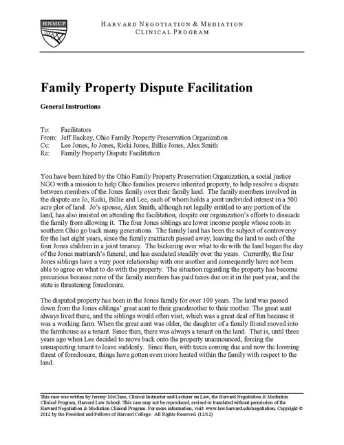 Family Property Dispute Facilitation Hls Case Studies