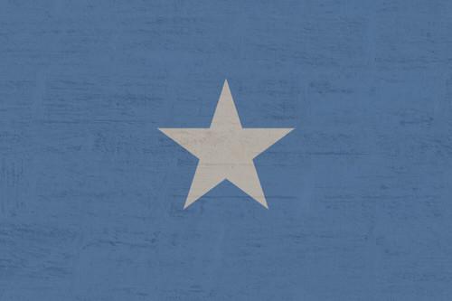 white star on blue background