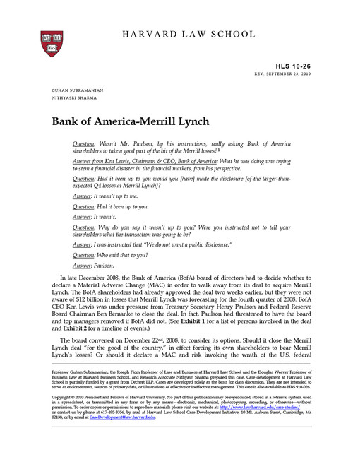 Case Study of the Bank of America and Merrill Lynch Merger ...