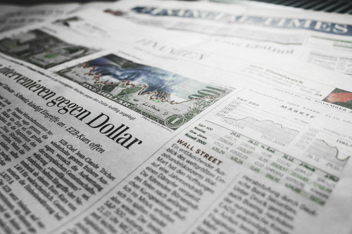 close-up view of a newspaper