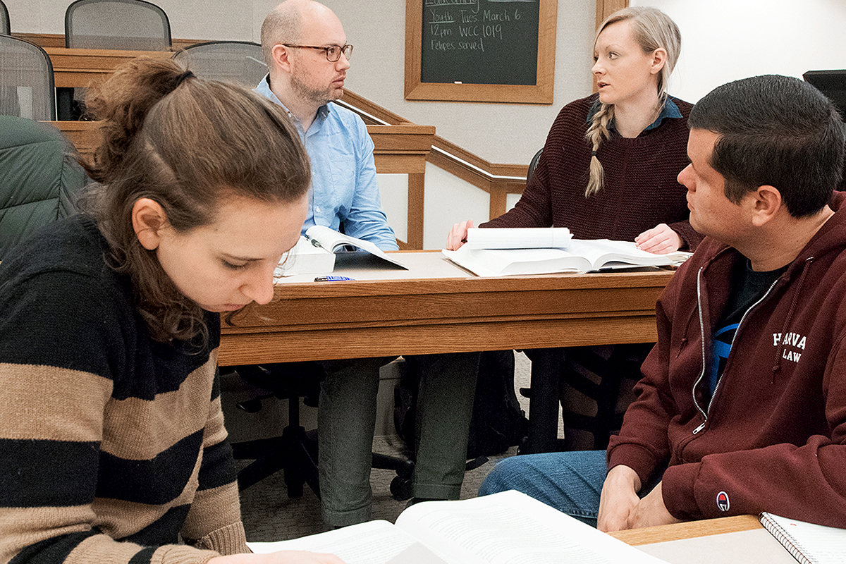 Students discussing during class at the Harvard Law School
