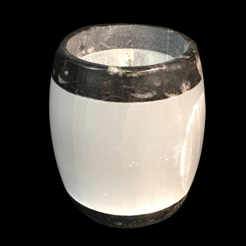 Small Selenite fossil candle holder