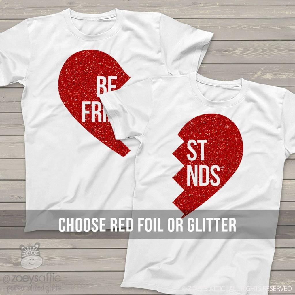 Sparkly Matching Shirts Best Friends Glitter Foil Heart T