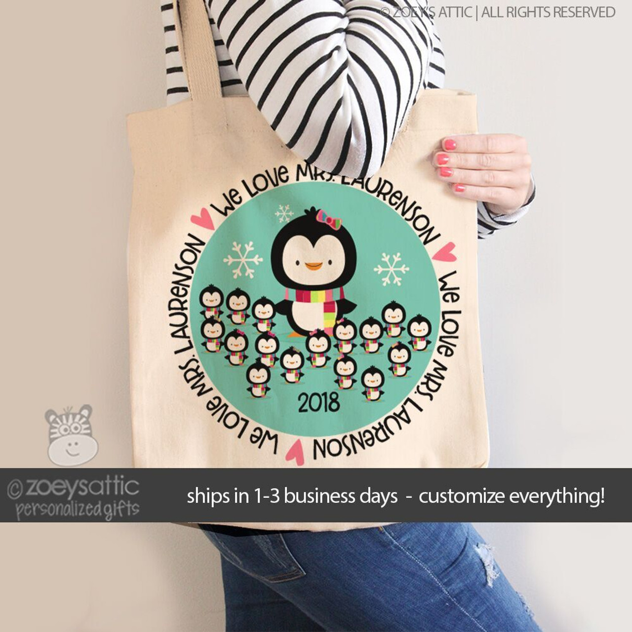 personalized womens tote bag, penguin love teacher personalized gift bag