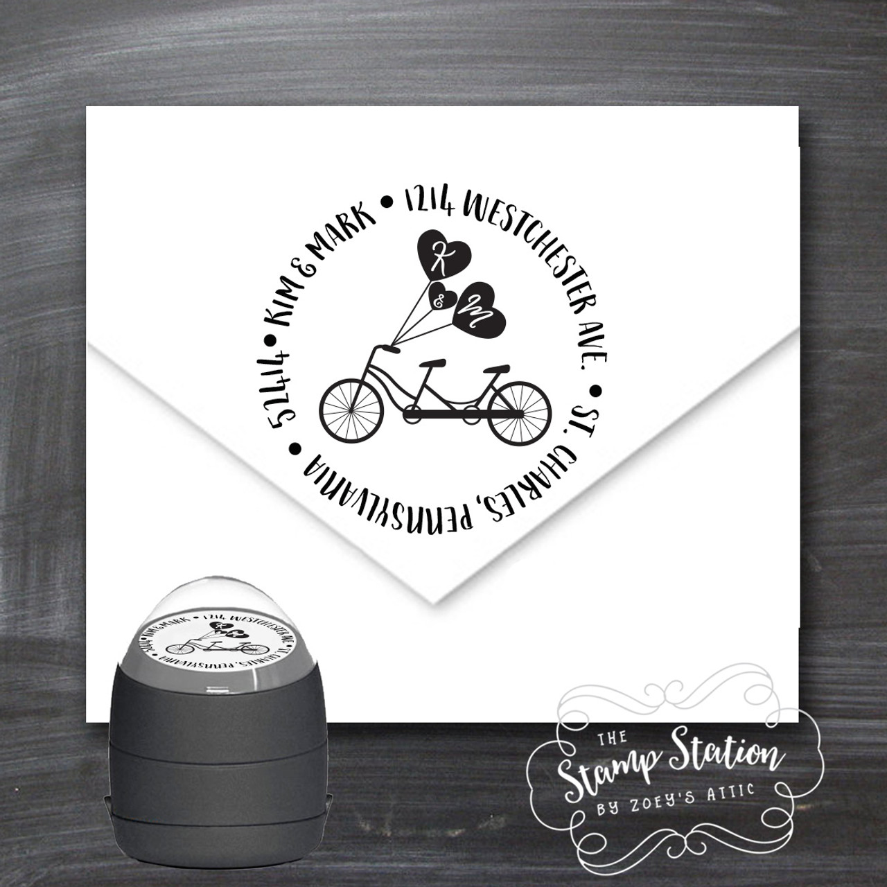 return address round ink stamp couple first names and initials self