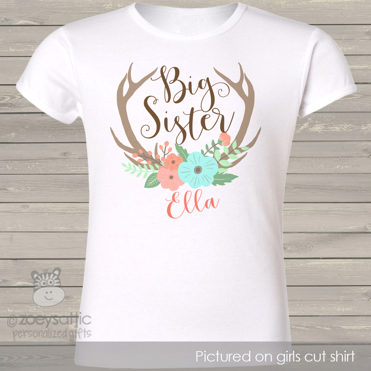 Big Sister Shirt Floral Wreath Big Sis Shirt Personalized Shirt