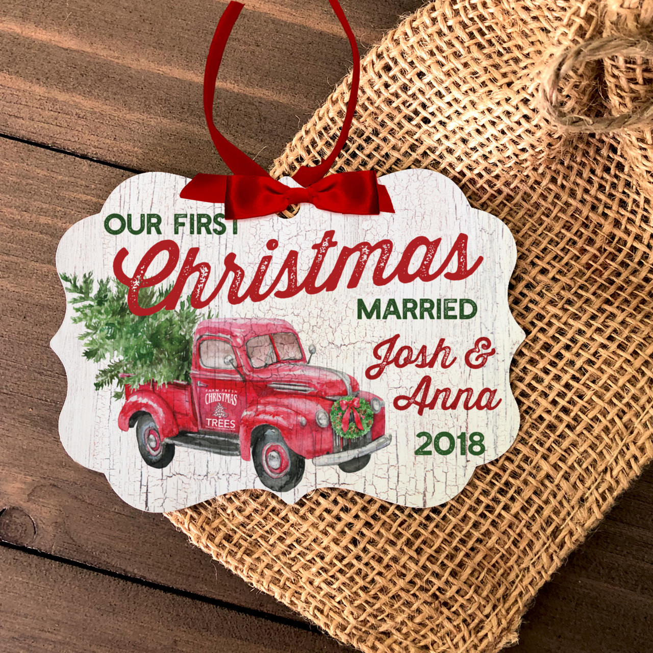 Christmas ornament, couples first married christmas tree farm truck ...