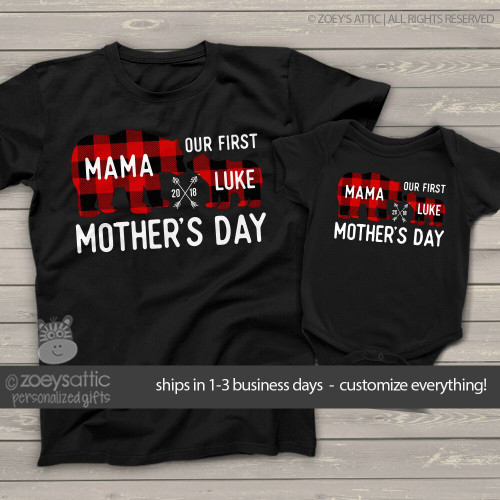 Mom Baby Gift Shirts Custom Mama Bear Baby Bear Shirt Set