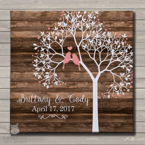 personalized canvas print, love birds in tree, canvas print wall art