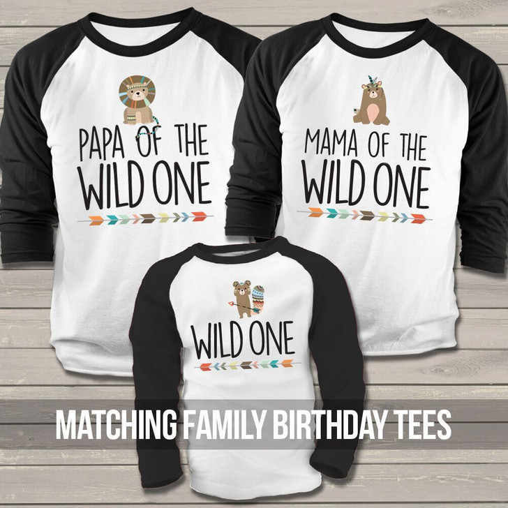 Wild One Birthday Family Matching THREE Raglan Shirt Set