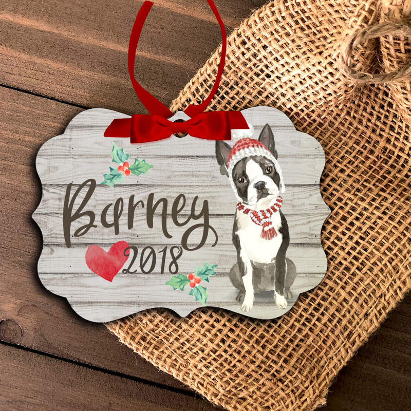 pet christmas ornament, custom boston terrier holiday ornament