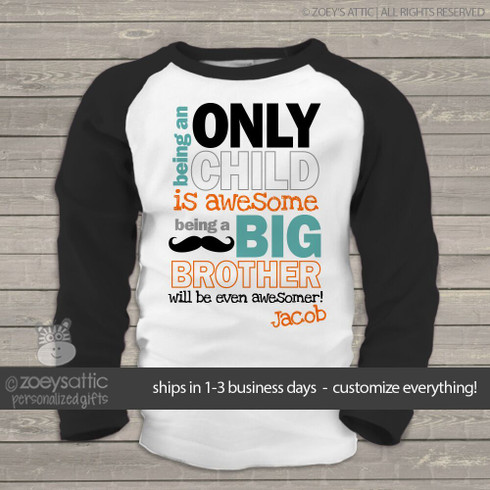 Big Brother Shirt Awesome Big Brother To Be Custom Raglan