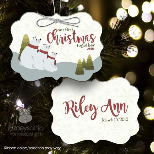 1st Christmas ornament, family polar bear ornament