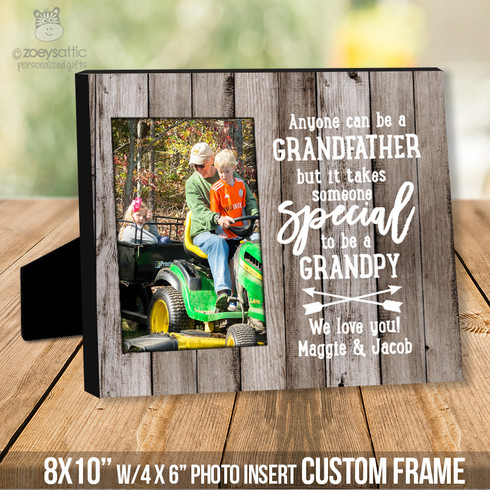 Wood Photo Frame Grandpa Fathers Day Gift