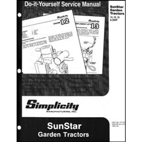 Simplicity SunStar Garden Tractor Repair Manual 1701191